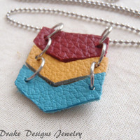 Leather chevron Geometric necklace boho chic colorful statement necklace