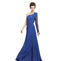 Coniefox 2013 Elegant One Shoulder Beaded Long Prom Dresses Size XL Color Blue