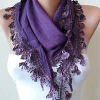 Purple Silky Scarf with Purple Trim Edge by SwedishShop on Etsy