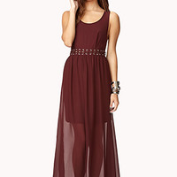 Lace-Up Cutout Maxi Dress