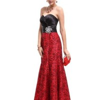 Ever Pretty Strapless Satin Floral Printed Ruffles Prom Evening Party Gown 09727