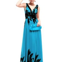 Ever Pretty Double V-neck Printed Chiffon Empire Line Pleated Evening Party Maxi Dress 09641