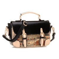 Buckles Printed Purse Handbag Satchel Messenger Shouder Bag