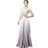 Coniefox A-line One Shoulder Long Sequin Handmade Prom Evening Dresses Size M Color Grey