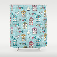 Beach Huts and Gulls Shower Curtain by Lisa Marie Robinson