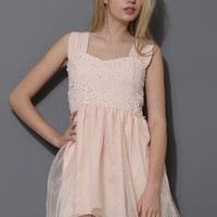 Floral Crochet Organza Mini Dress in Pink