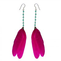 Earrings - Feathers - Fuchsia by Oscar Bijoux