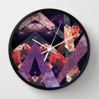 ROSES IN THE GALAXY Wall Clock by Vasare Nar
