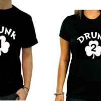 Drunk 1 and Drunk 2 Couples Drinking Shirts or Best Friends