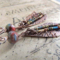 Boho Copper Earrings, Etched Copper Teardrop Shape, Multicolor Beads, Long Drop Earrings, Unique Earrings, Red, Blue