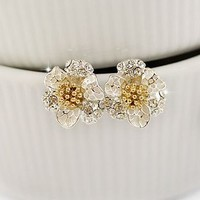 Silver Daisy Flowers Fashion Earrings