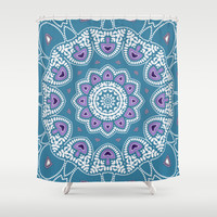 Mushroom Mandala Shower Curtain by Webgrrl