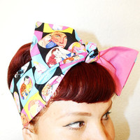 Vintage Inspired Head Scarf, Barbie and Ken, Reversible, Pink, Rockabilly, Retro