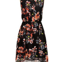 high-low floral print dress with lace