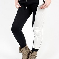 LBS50061-11-3 Black and White Leggings Apparel Leggings BLACK-WHITE Bare Feet Shoes