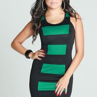 Black & Green Sleeveless Striped Bodycon Mini Dress