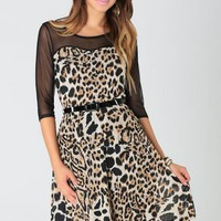 Black Long Sleeve Cheetah Print Dress w/ Sweetheart Neckline #cheetah #chic #animalprint