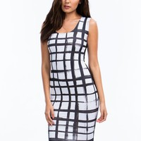 Sketched Grid Bodycon Dress