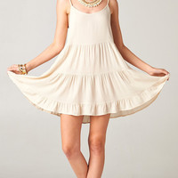 IVORY OPEN BACK BABYDOLL TIERED TUNIC DRESS