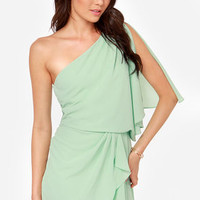 Gracefully Grecian One Shoulder Mint Dress