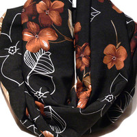 White Brown Black Infinity scarf. Floral Scarf. Circle scarf. Loop Scarf. Women Accessories.