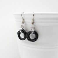 Black Love Knot chainmaille earrings