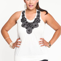 PLUS SIZE IVORY EMBELLISHED KNIT TOP