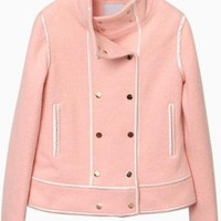 Pink Long Sleeve Double Breasted Wool Coat #pink #spring #classy #preppy #love #want #need #wish #cute