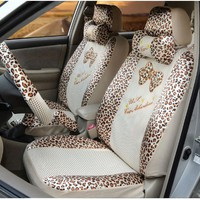 Automotive car seat covers,car steering wheel cover,21pcs-zebra Print Lace Ice Seating, CAR Seat Covers Women's Fashion Car Seat Covers