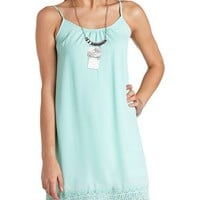 CROCHET TRIM CHIFFON SHIFT DRESS