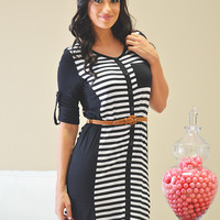 Easy Does It Striped Dress - Black