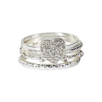 Pavé Heart Ring 4-Pack