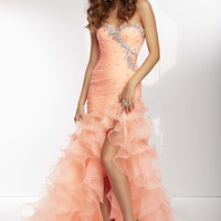 Mori Lee 95079 - Coral Beaded Strapless Sweetheart Prom Dresses Online