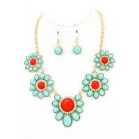 Turquoise-Coral Flower Necklace