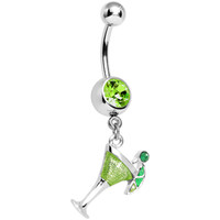 Green Gem Lime Martini Dangle Belly Ring | Body Candy Body Jewelry