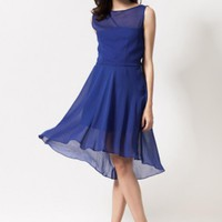 Blue Sleeveless A-Line Midi Length Dress #love #want #need #wish #cute #chic #spring #classy