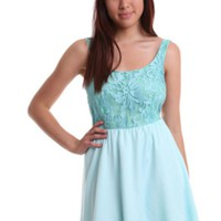 Light Blue Sleeveless Lace Dress w/ Open Back #lace #spring #chic