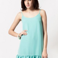 Blue Sleeveless Shift Mini Dress w/ Ruffle Hem #love #want #need #wish #cute #chic #spring #ruffle