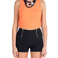 Lush Clothing - Side Binding Cropped Tank - Coral
