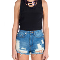 Lush Clothing - Side Binding Cropped Tank - Black