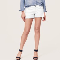 Denim Scallop Shorts in White with 3 Inch Inseam
