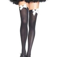 Thigh High Stockings With Bow Accent