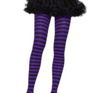 Black and Purple Striped Tights