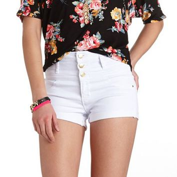"REFUGE ""HI-WAIST SHORTIE"" CUFFED DENIM SHORTS"