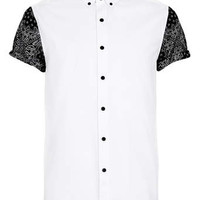 White Contrast Print Short Sleeve shirt - Men's Shirts - Clothing