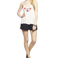 Embroidered Strap Back Tank | Wet Seal
