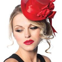 Red Satin Top Hat with Flower And Bow