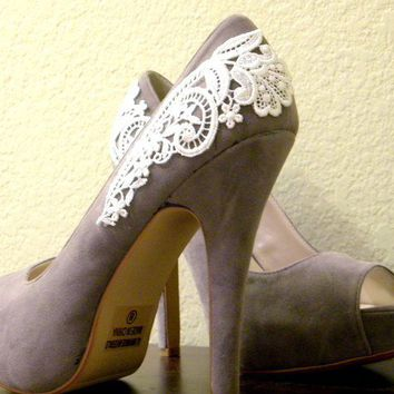 Grey Peep Toe Pumps with White Venise Lace Size by LaPlumeEthere