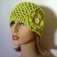 Lime Green Cotton Flower Hat, Womens Crochet Beanie Hat