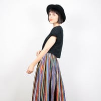 Vintage Maxi Skirt Midi Skirt Rainbow Striped Skirt Southwestern Stripe Navajo Boho Full Skirt 1980s 80s Hippie Festival M Medium L Large